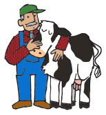 Illustration of farmer and cow